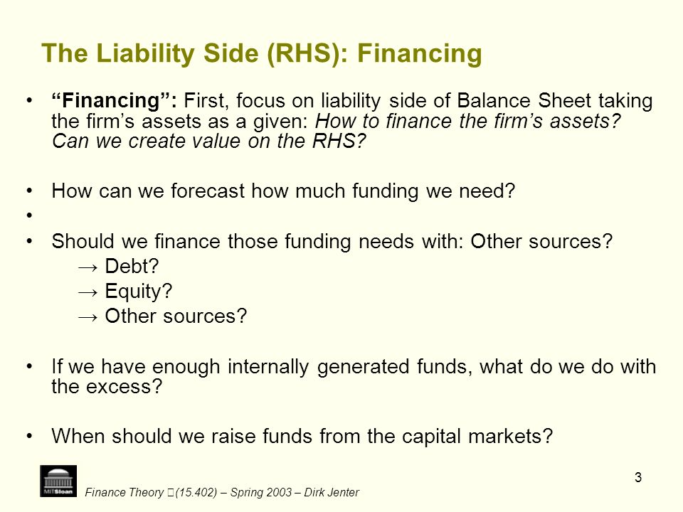 Finance Theory (15.402) – Spring 2003 – Dirk Jenter 3 The Liability Side (RHS): Financing Financing: First, focus on liability side of Balance Sheet t