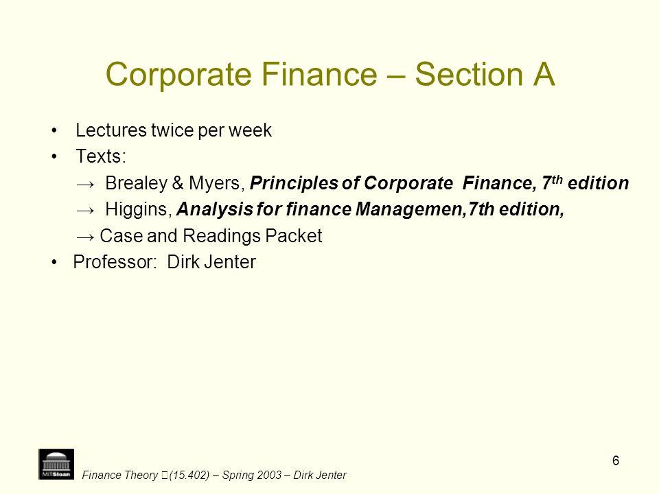 Finance Theory (15.402) – Spring 2003 – Dirk Jenter 17 Group 2 Dot.