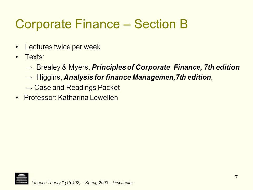 Finance Theory (15.402) – Spring 2003 – Dirk Jenter 18 Identified Industries in Group 2 D Department Store E Retail Drug Chain F Airline G Retail Grocery Cha in I Meat Packer