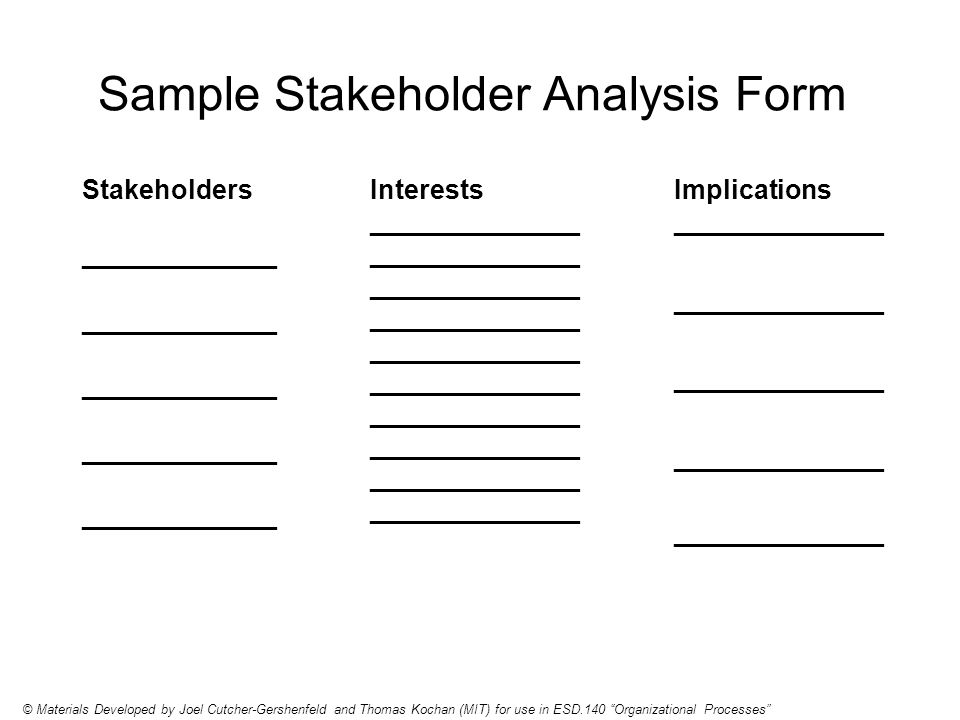 Sample Stakeholder Analysis Form Stakeholders _____________ © Materials Developed by Joel Cutcher-Gershenfeld and Thomas Kochan (MIT) for use in ESD.140 Organizational Processes Interests ______________ ______________ ______________ ______________ ______________ ______________ ______________ ______________ ______________ ______________ Implications ______________ ______________