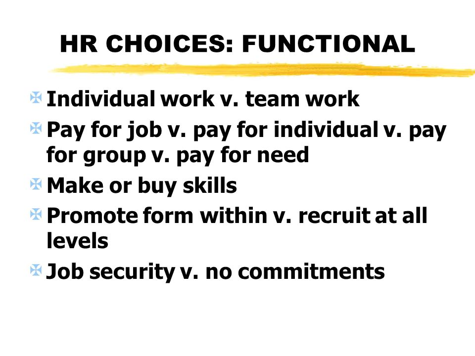 HR CHOICES: FUNCTIONAL Individual work v. team work Pay for job v. pay for individual v. pay for group v. pay for need Make or buy skills Promote form