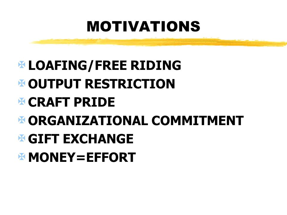 MOTIVATIONS LOAFING/FREE RIDING OUTPUT RESTRICTION CRAFT PRIDE ORGANIZATIONAL COMMITMENT GIFT EXCHANGE MONEY=EFFORT