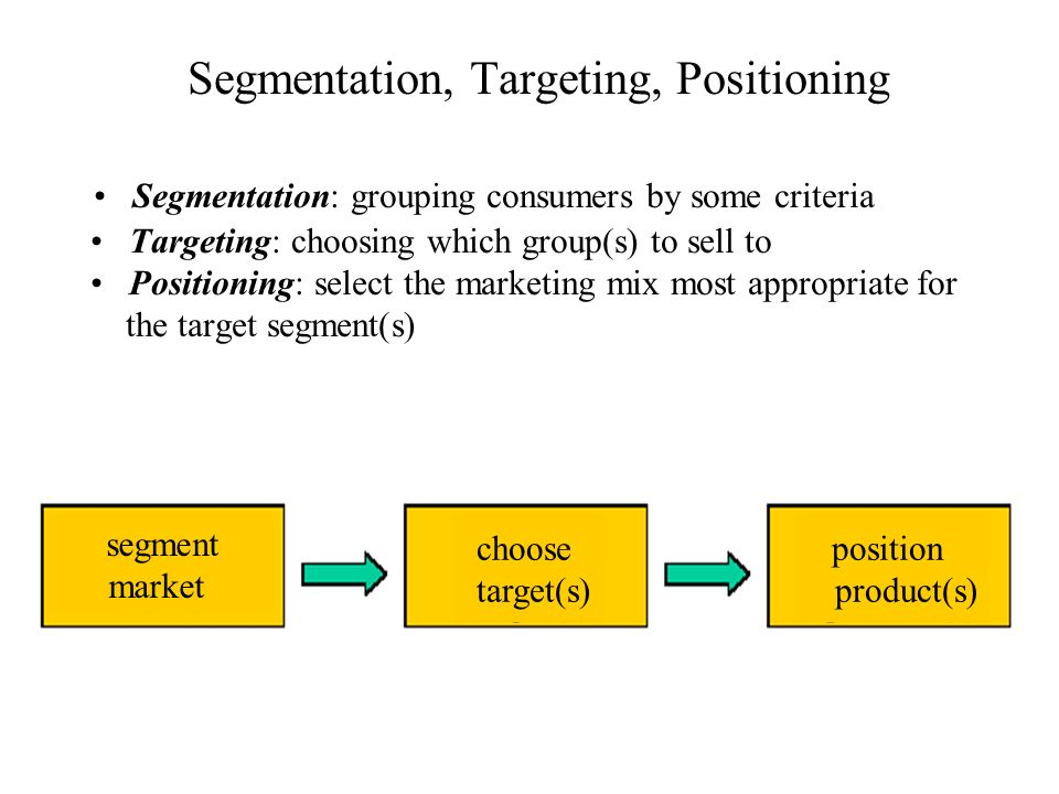 Segmentation Segmentation = grouping consumers by some criteria, such that those within a group will respond similarly to a marketing action and those in a different group will respond differently.