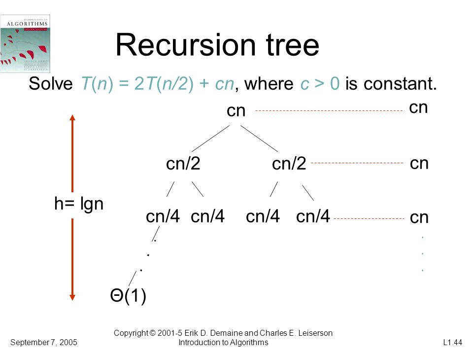 Recursion tree Solve T(n) = 2T(n/2) + cn, where c > 0 is constant. cn cn/2 cn/2 cn/4 cn/4 cn/4 cn/4 Θ(1) Copyright © 2001-5 Erik D. Demaine and Charle