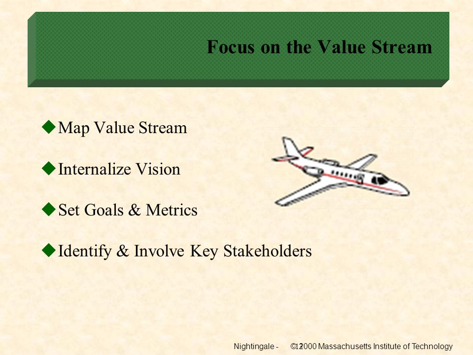 Nightingale - © 2000 Massachusetts Institute of Technology13 Focus on the Value Stream Map Value Stream Internalize Vision Set Goals & Metrics Identif