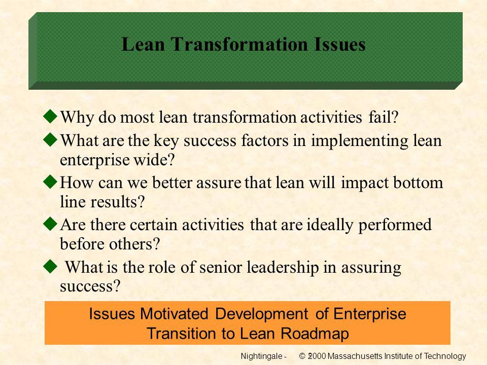 Nightingale - © 2000 Massachusetts Institute of Technology16 Implement Lean Initiatives Develop Detail Plans Implement Lean Activities
