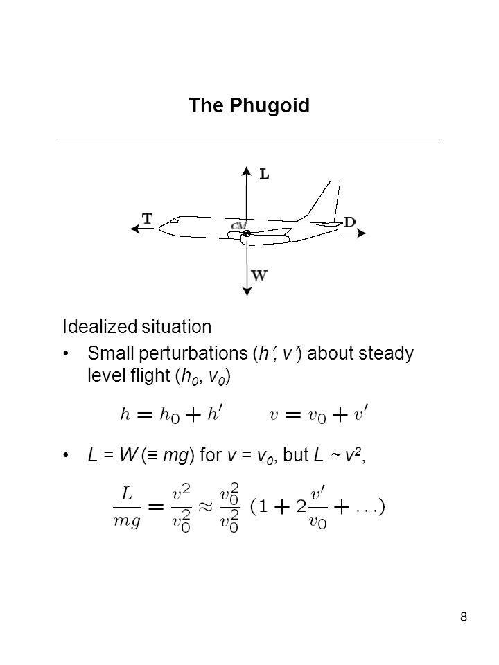 8 The Phugoid Idealized situation Small perturbations (h, v) about steady level flight (h 0, v 0 ) L = W ( mg) for v = v 0, but L v 2,
