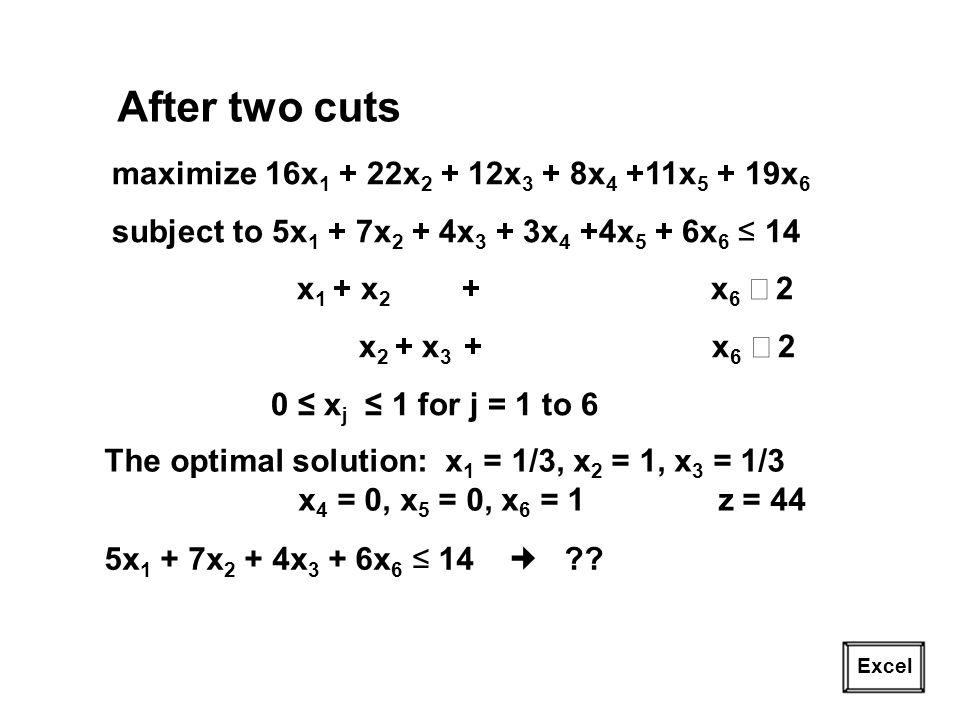 21 Excel After two cuts maximize 16x 1 + 22x 2 + 12x 3 + 8x 4 +11x 5 + 19x 6 subject to 5x 1 + 7x 2 + 4x 3 + 3x 4 +4x 5 + 6x 6 14 x 1 + x 2 + x 6 2 x 2 + x 3 + x 6 2 0 x j 1 for j = 1 to 6 The optimal solution: x 1 = 1/3, x 2 = 1, x 3 = 1/3 x 4 = 0, x 5 = 0, x 6 = 1 z = 44 5x 1 + 7x 2 + 4x 3 + 6x 6 14 ??