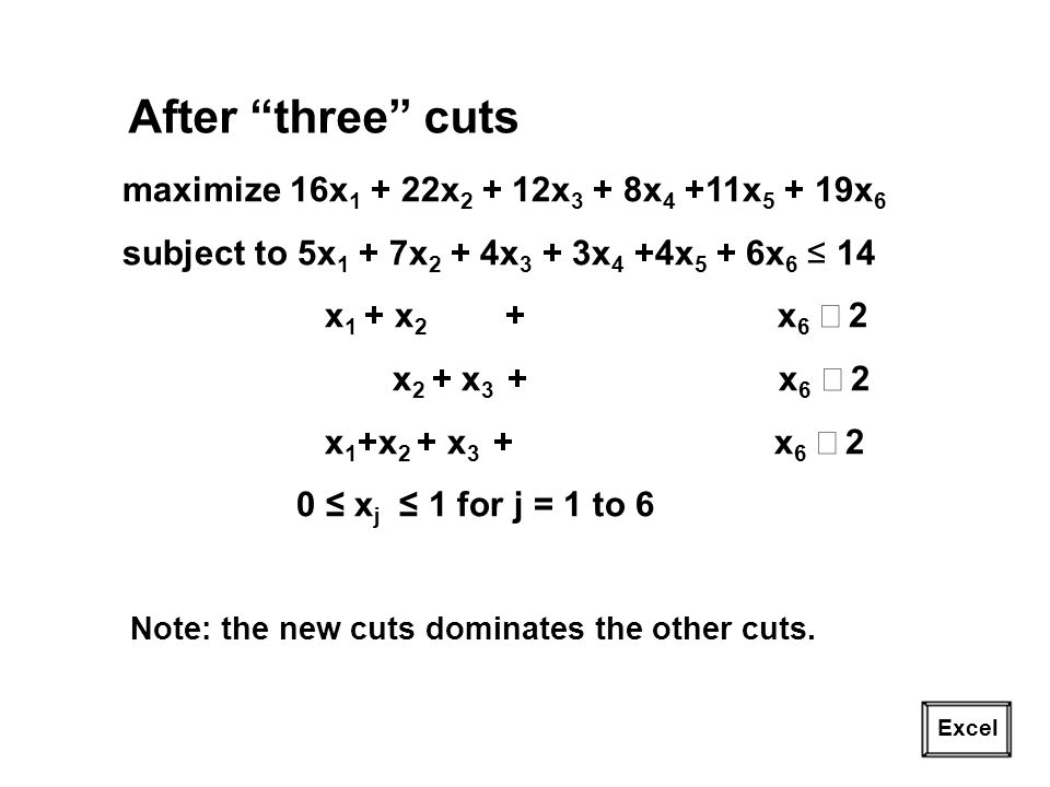 23 Excel After three cuts maximize 16x 1 + 22x 2 + 12x 3 + 8x 4 +11x 5 + 19x 6 subject to 5x 1 + 7x 2 + 4x 3 + 3x 4 +4x 5 + 6x 6 14 x 1 + x 2 + x 6 2 x 2 + x 3 + x 6 2 x 1 +x 2 + x 3 + x 6 2 0 x j 1 for j = 1 to 6 Note: the new cuts dominates the other cuts.