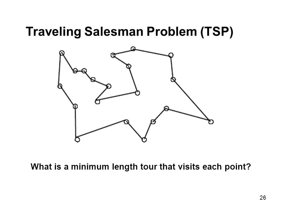 26 Traveling Salesman Problem (TSP) What is a minimum length tour that visits each point?