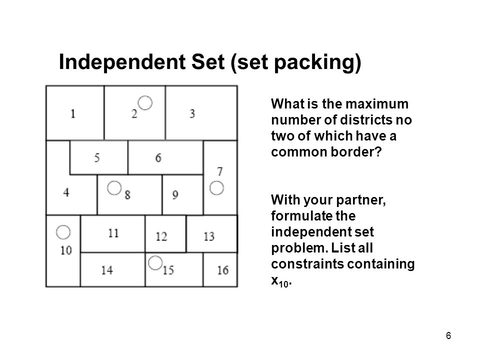 6 Independent Set (set packing) What is the maximum number of districts no two of which have a common border.