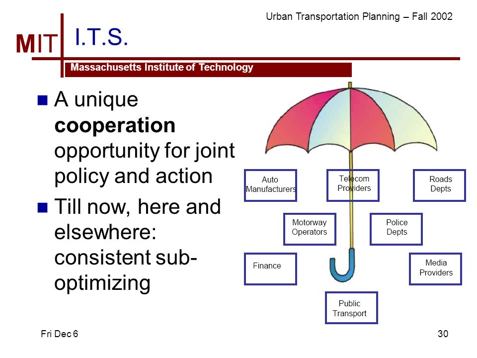 MIT Massachusetts Institute of Technology Urban Transportation Planning – Fall 2002 Fri Dec 630 I.T.S.