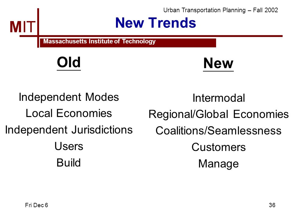 MIT Massachusetts Institute of Technology Urban Transportation Planning – Fall 2002 Fri Dec 636 New Trends Old Independent Modes Local Economies Indep