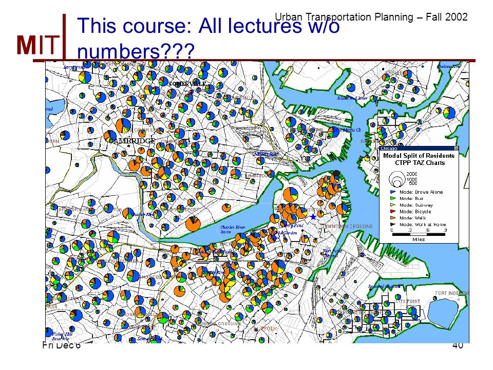 MIT Massachusetts Institute of Technology Urban Transportation Planning – Fall 2002 Fri Dec 640 This course: All lectures w/o numbers