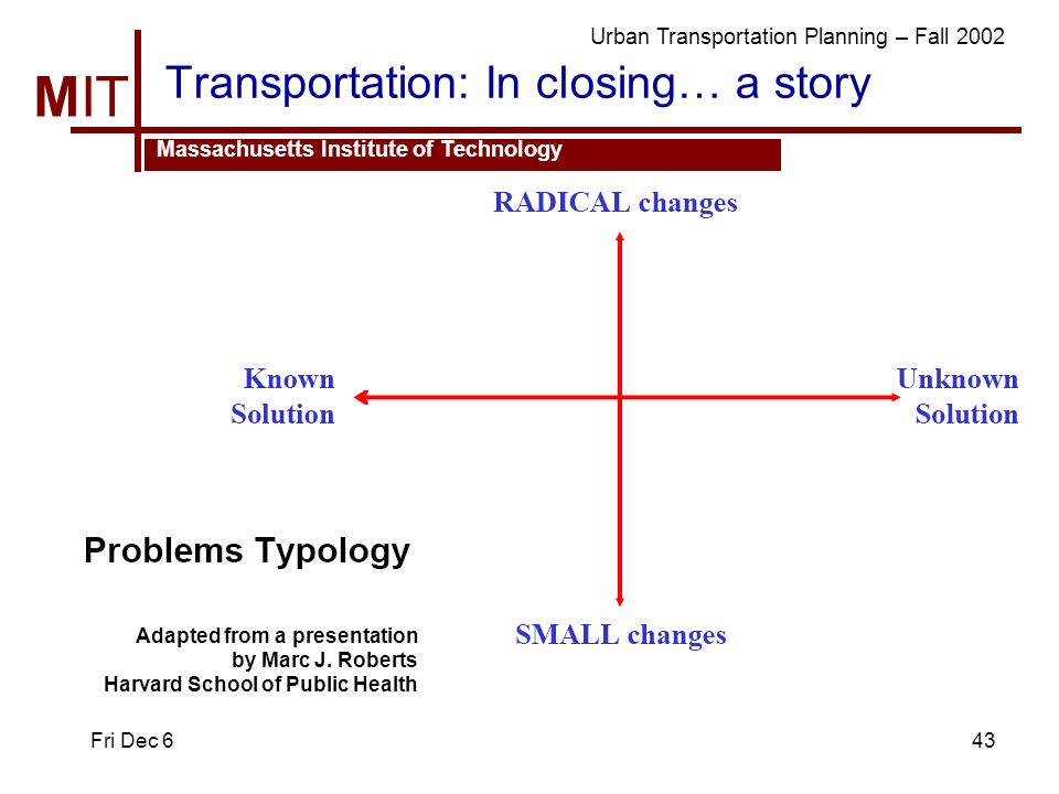 MIT Massachusetts Institute of Technology Urban Transportation Planning – Fall 2002 Fri Dec 643 Transportation: In closing… a story Adapted from a presentation by Marc J.