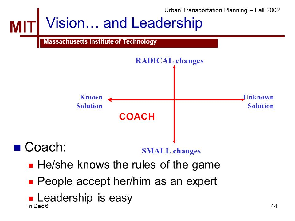 MIT Massachusetts Institute of Technology Urban Transportation Planning – Fall 2002 Fri Dec 644 Vision… and Leadership Coach: He/she knows the rules o