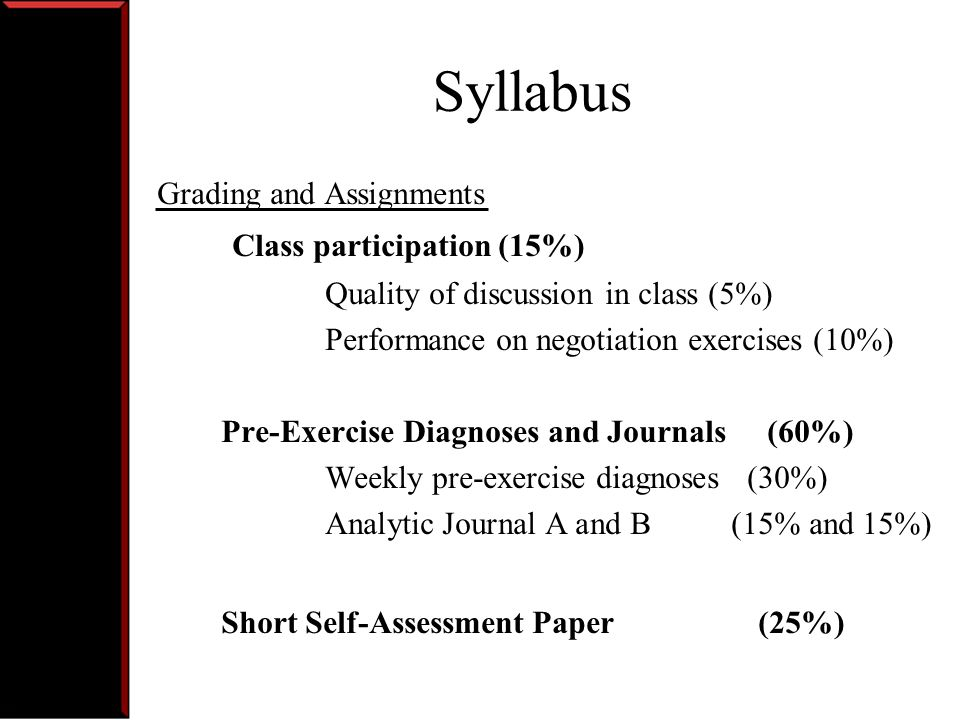 Syllabus Attendance- Course 15.665 has an attendance policy that is strictly enforced.