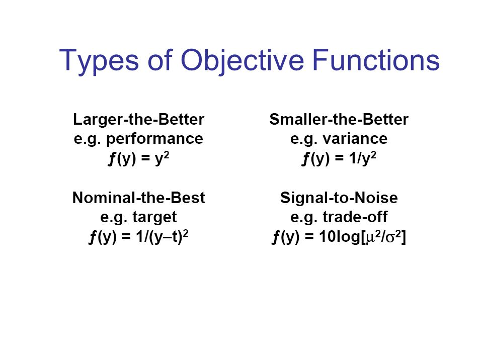 Types of Objective Functions