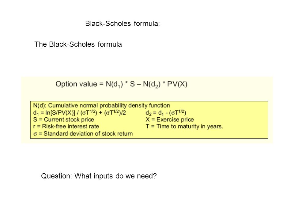 Black-Scholes formula: The Black-Scholes formula Question: What inputs do we need?