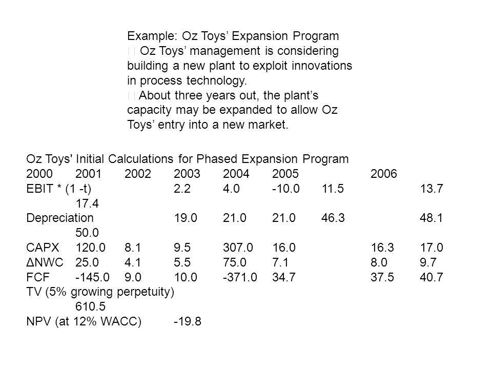 Example: Oz Toys Expansion Program Oz Toys management is considering building a new plant to exploit innovations in process technology. About three ye
