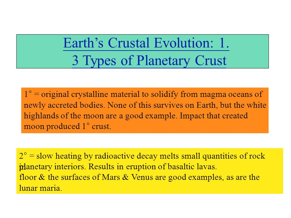 Earths Crustal Evolution: 1.