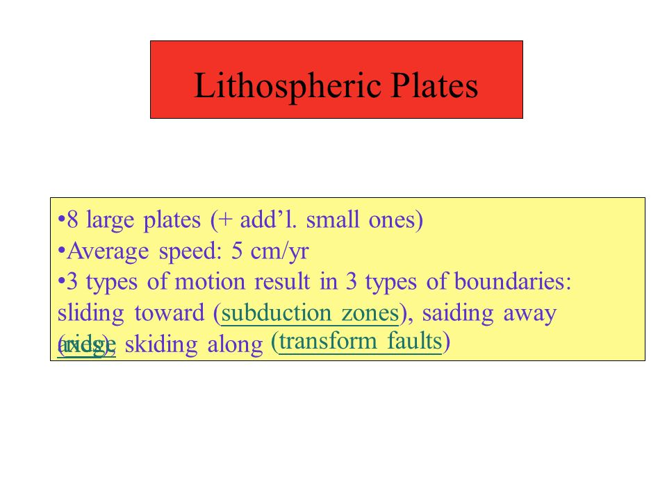 Lithospheric Plates axes), skiding along (transform faults) 8 large plates (+ addl.