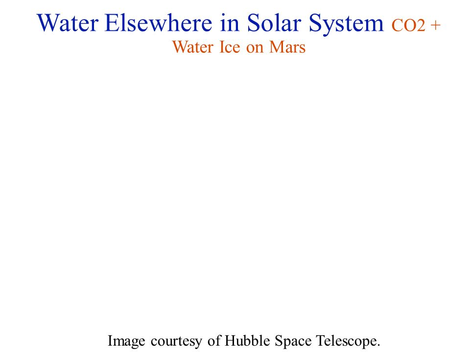 Water Elsewhere in Solar System CO2 + Water Ice on Mars Image courtesy of Hubble Space Telescope.