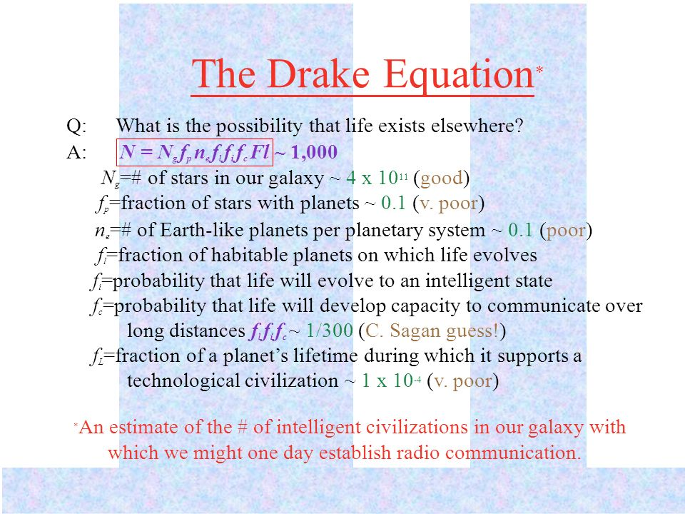 The DrakeEquation * Q: What is the possibility that life exists elsewhere.