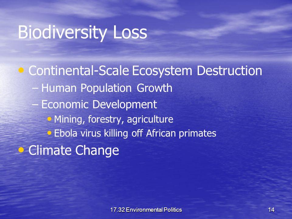 17.32 Environmental Politics14 Biodiversity Loss Continental-Scale Ecosystem Destruction – –Human Population Growth – –Economic Development Mining, fo