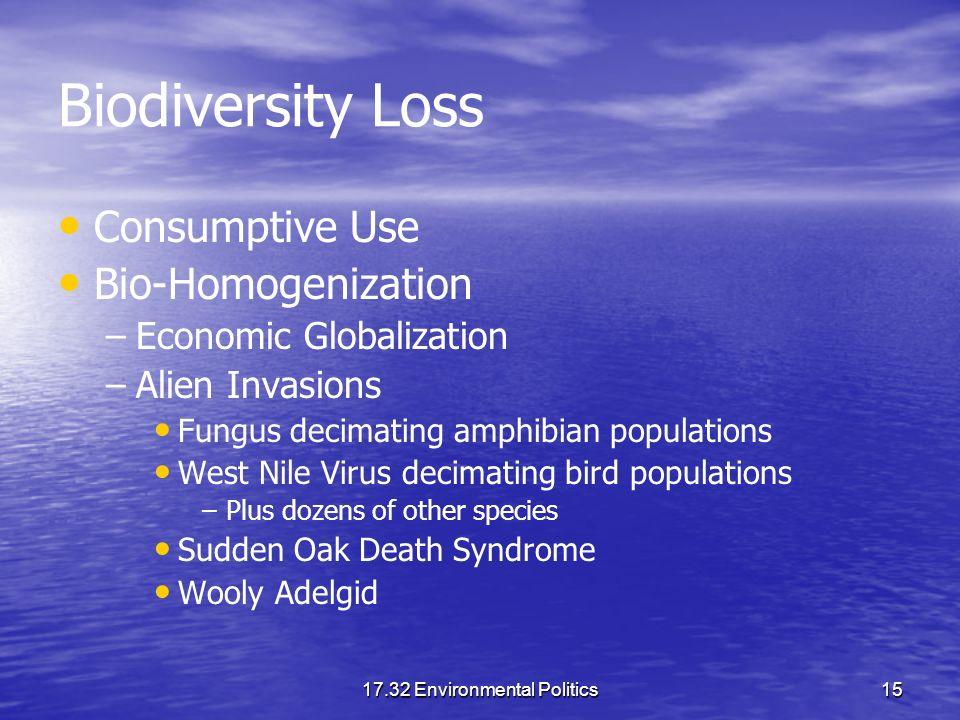 17.32 Environmental Politics15 Biodiversity Loss Consumptive Use Bio-Homogenization – –Economic Globalization – –Alien Invasions Fungus decimating amp