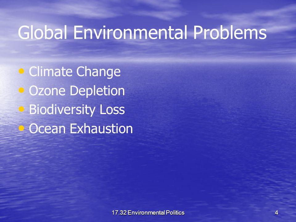17.32 Environmental Politics4 Global Environmental Problems Climate Change Ozone Depletion Biodiversity Loss Ocean Exhaustion