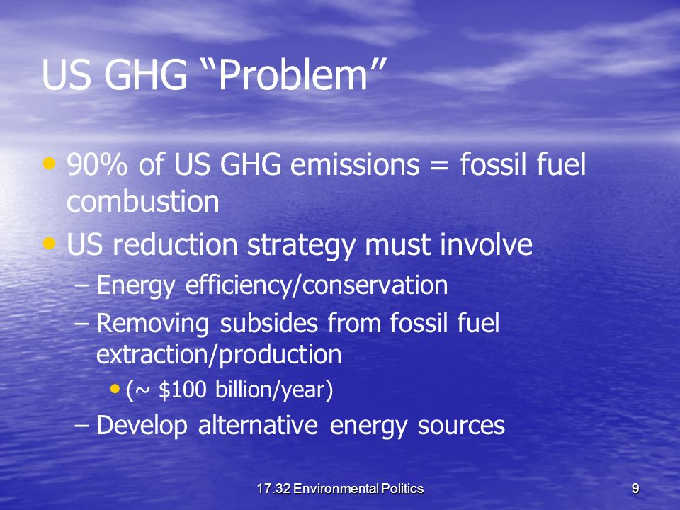 17.32 Environmental Politics9 US GHG Problem 90% of US GHG emissions = fossil fuel combustion US reduction strategy must involve – –Energy efficiency/