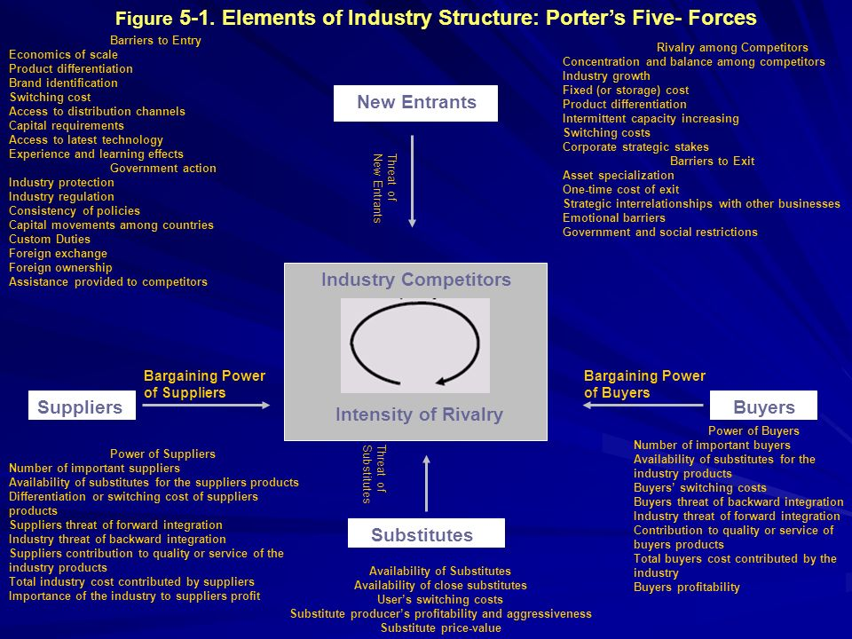 Figure 5-1. Elements of Industry Structure: Porters Five- Forces New Entrants SuppliersBuyers Substitutes Industry Competitors Intensity of Rivalry Ba