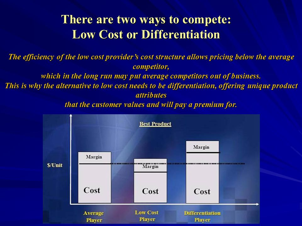 There are two ways to compete: Low Cost or Differentiation The efficiency of the low cost providers cost structure allows pricing below the average co