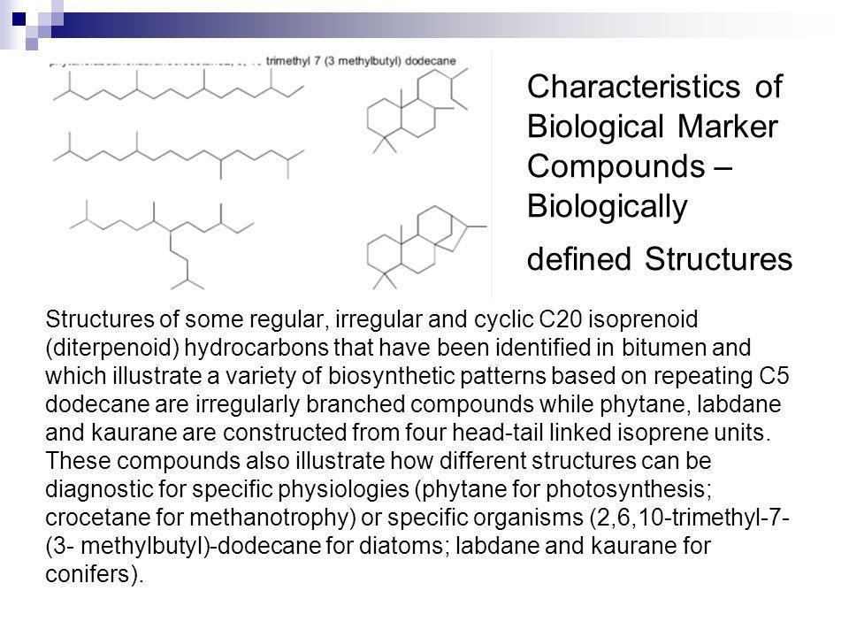 Characteristics of Biological Marker Compounds – Biologically defined Structures Structures of some regular, irregular and cyclic C20 isoprenoid (dite