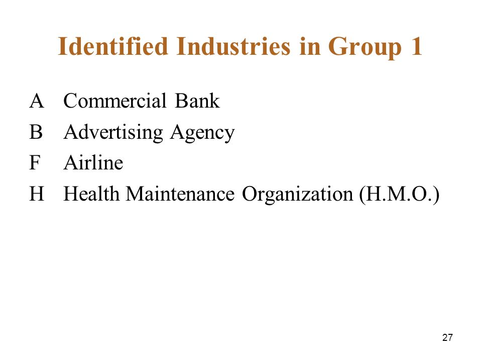 27 Identified Industries in Group 1 A Commercial Bank B Advertising Agency F Airline H Health Maintenance Organization (H.M.O.)