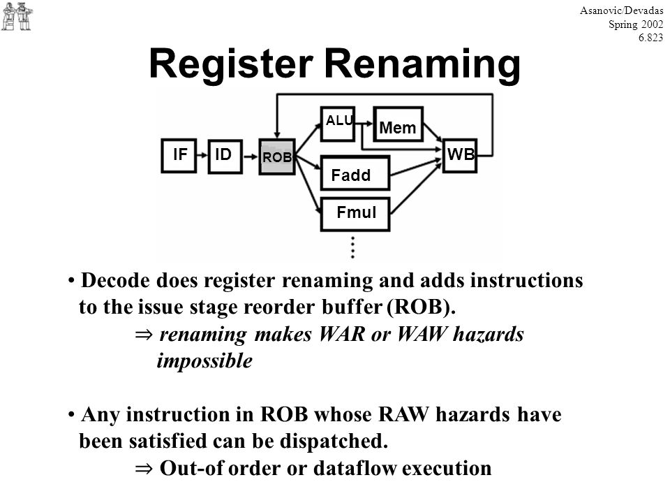 Register Renaming Asanovic/Devadas Spring 2002 6.823 Decode does register renaming and adds instructions to the issue stage reorder buffer (ROB). rena