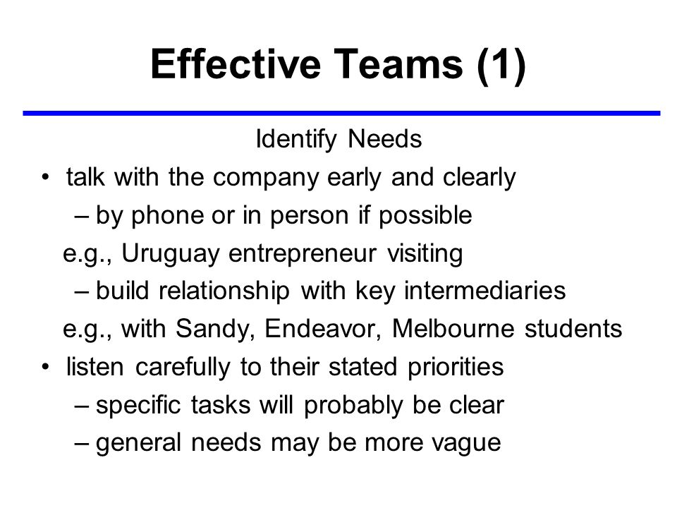 Effective Teams (1) Identify Needs talk with the company early and clearly –by phone or in person if possible e.g., Uruguay entrepreneur visiting –build relationship with key intermediaries e.g., with Sandy, Endeavor, Melbourne students listen carefully to their stated priorities –specific tasks will probably be clear –general needs may be more vague