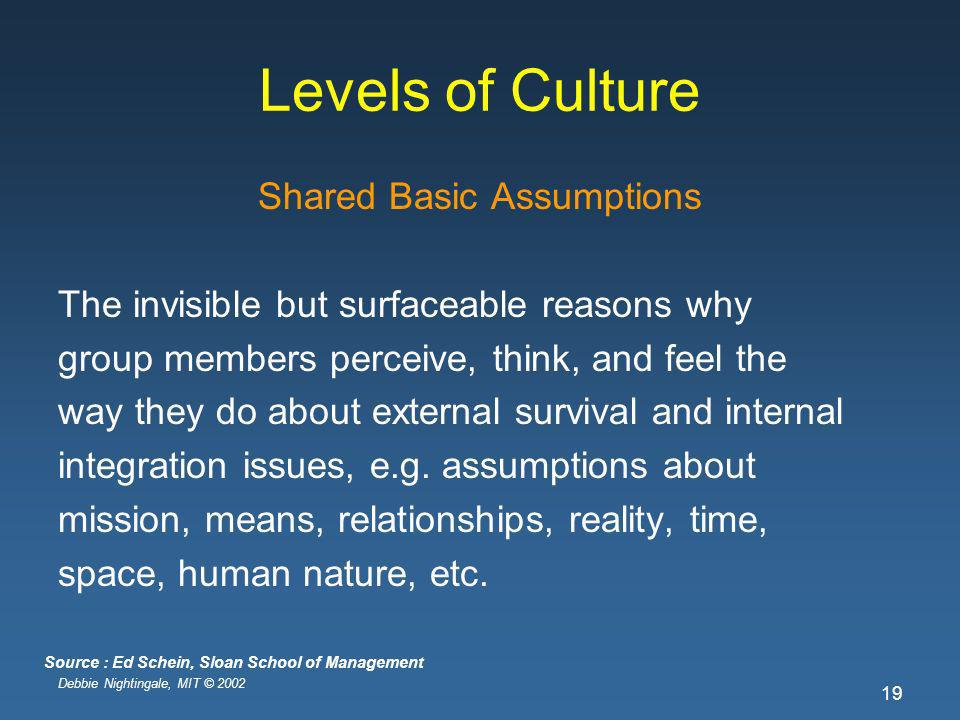 Debbie Nightingale, MIT © 2002 19 Levels of Culture Shared Basic Assumptions The invisible but surfaceable reasons why group members perceive, think, and feel the way they do about external survival and internal integration issues, e.g.