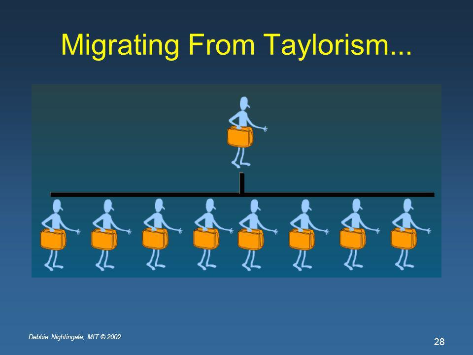 Debbie Nightingale, MIT © 2002 28 Migrating From Taylorism...