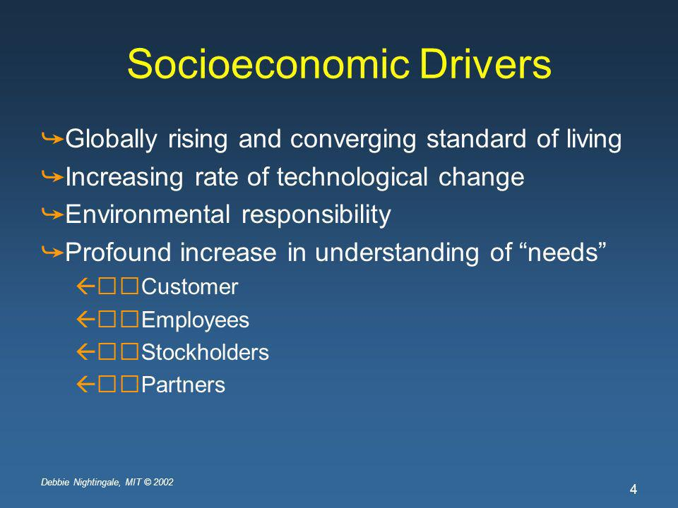 Debbie Nightingale, MIT © 2002 4 Socioeconomic Drivers Globally rising and converging standard of living Increasing rate of technological change Environmental responsibility Profound increase in understanding of needs Customer Employees Stockholders Partners