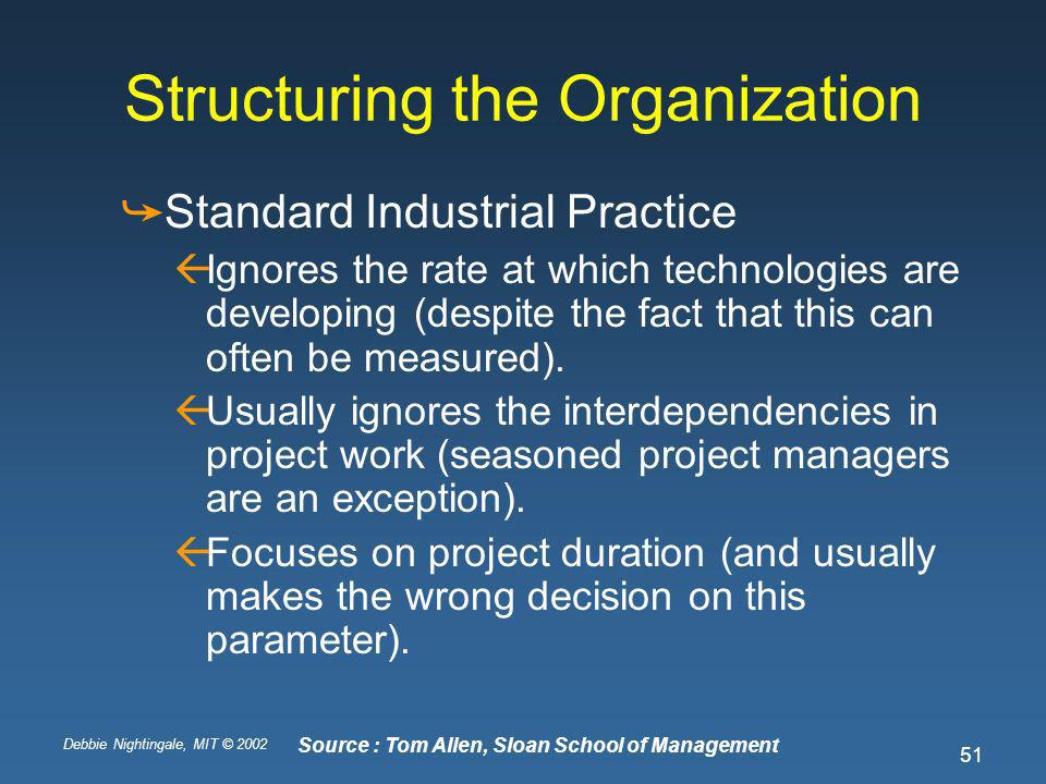 Debbie Nightingale, MIT © 2002 51 Structuring the Organization Standard Industrial Practice Ignores the rate at which technologies are developing (despite the fact that this can often be measured).