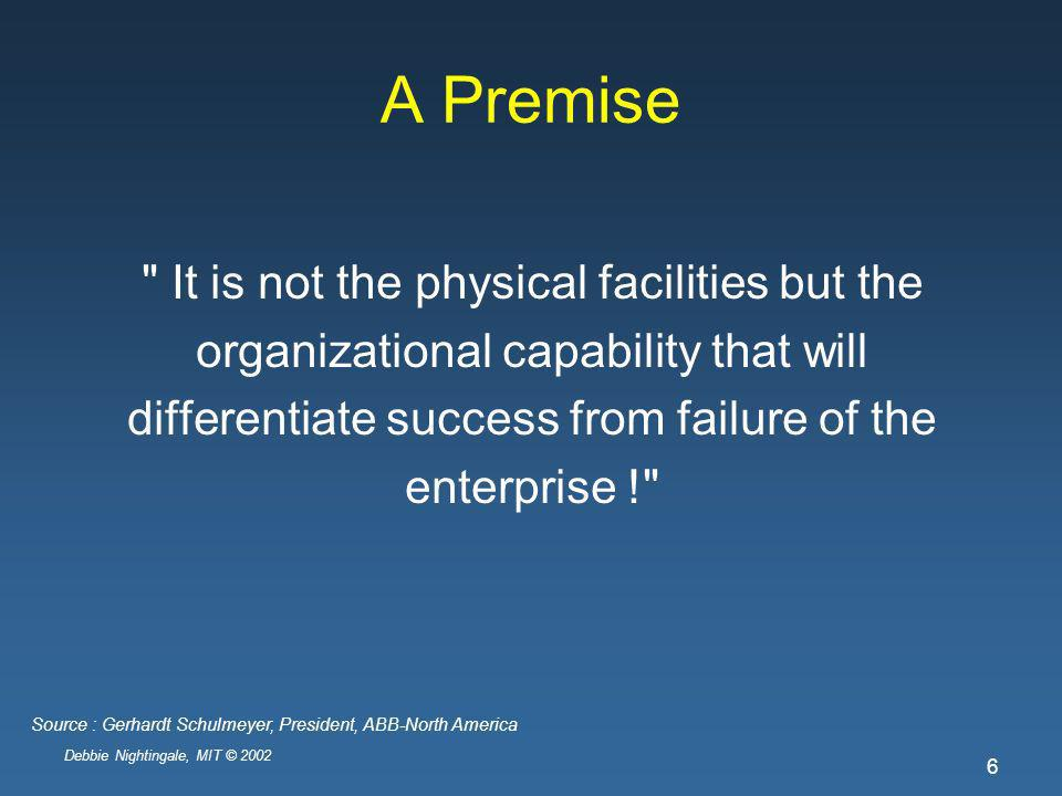 Debbie Nightingale, MIT © 2002 6 A Premise It is not the physical facilities but the organizational capability that will differentiate success from failure of the enterprise ! Source : Gerhardt Schulmeyer, President, ABB-North America