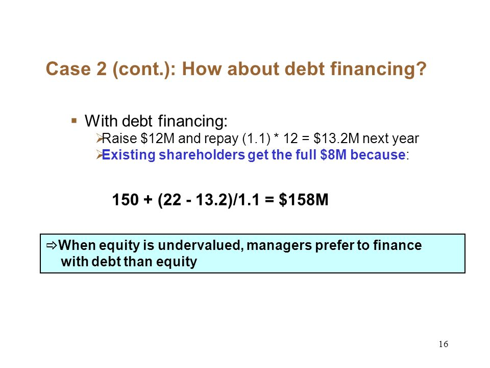 16 Case 2 (cont.): How about debt financing.