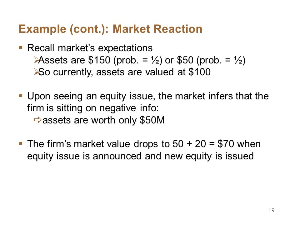 19 Example (cont.): Market Reaction Recall markets expectations Assets are $150 (prob.