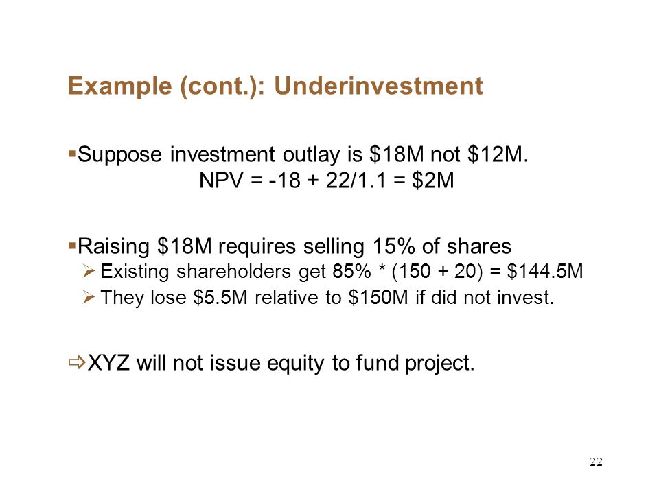 22 Example (cont.): Underinvestment Suppose investment outlay is $18M not $12M.