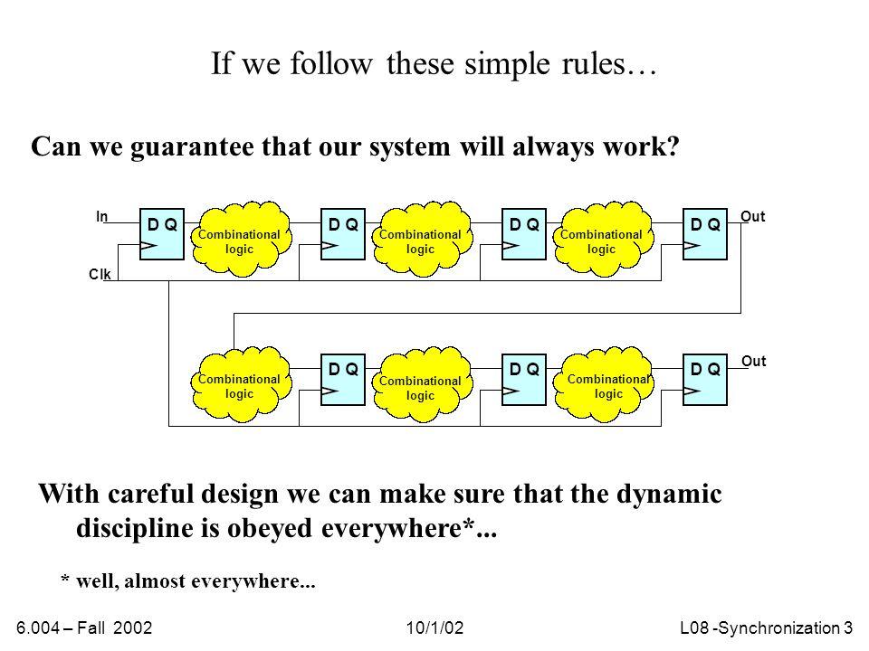 6.004 – Fall 200210/1/02L08 -Synchronization 14 Sketch of analysis… I.