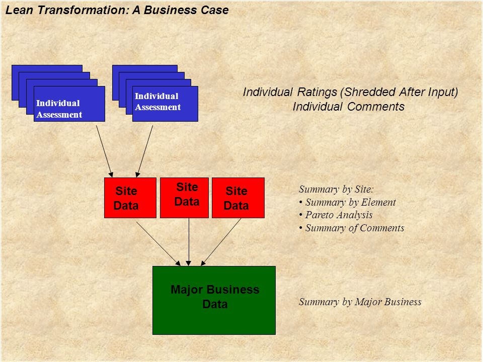 Lean Transformation: A Business Case Individual Assessment Individual Assessment Summary by Site: Summary by Element Pareto Analysis Summary of Commen