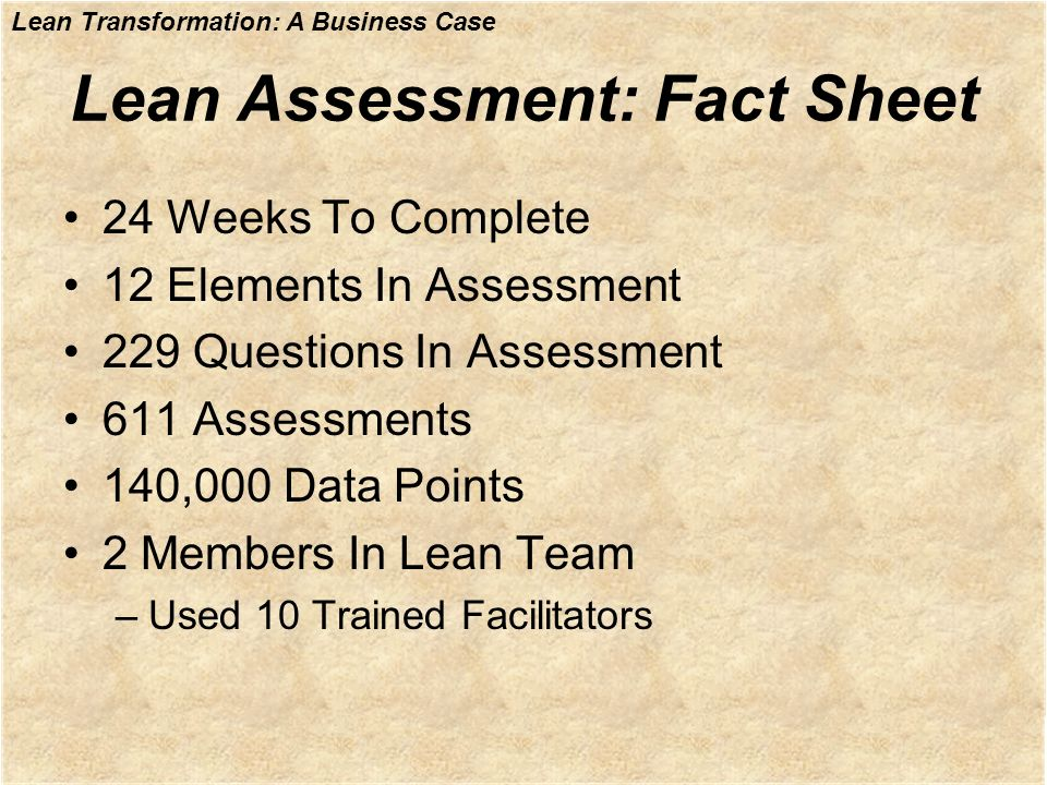 Lean Transformation: A Business Case Lean Assessment: Fact Sheet 24 Weeks To Complete 12 Elements In Assessment 229 Questions In Assessment 611 Assess