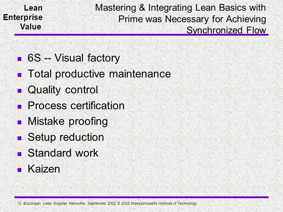 Lean Enterprise Value 12 -Bozdogan -Lean Supplier Networks, September 2002 © 2002 Massachusetts Institute of Technology Mastering & Integrating Lean B